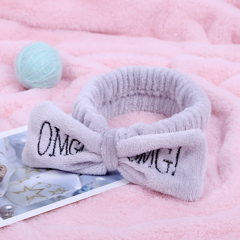 Women's Butterfly Bow Hair Band Fashion OMG Letters Wash Headband Girls Headwear Hairbands Coral Fleece Hair Accessories