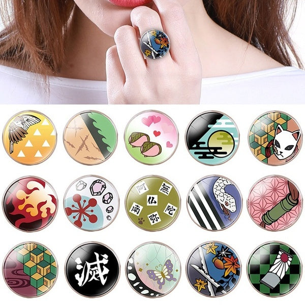 15 Types Japanese Anime Demon Slayer: Kimetsu No Yaiba Tanjiro Kamado Nezuko Kamado Time Gem Glass Ring Anime Adjustable Opening Rings Fashion Accessories Gift