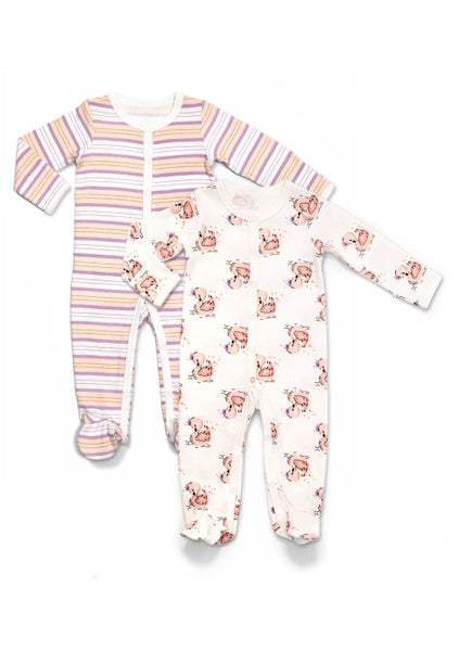 Rosie Pope Baby Swan & Striped Footies Girls - Pack of 2