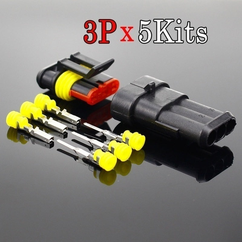 5 Kits 1/2/3/4 Pin Way Sealed Waterproof Electrical Wire Connector Plug Car Auto Set