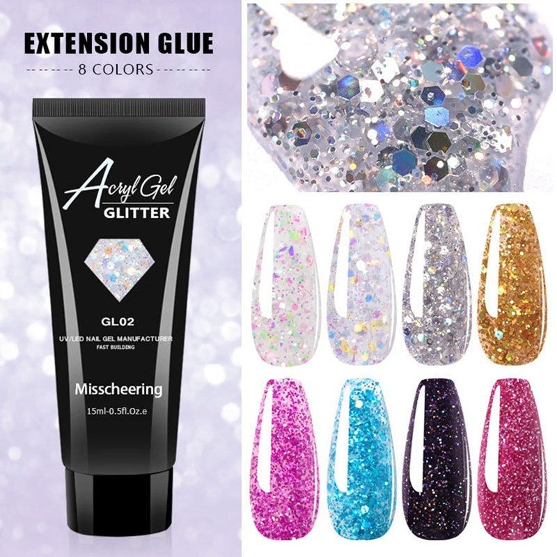 15Ml Diamond Glitter Uv Builder Nail Gel Sparkling Sequins Acrylic Poly Gel Quick Nail Extension Gel Polish