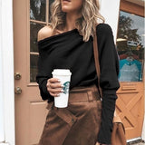 2021 New Fashion Autumn Winter Women's Clothing Off Shoulder Sweaters Casual Long Sleeve Shirts Tops XS-5XL