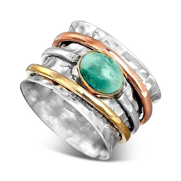 Two Tone 925 Sterling Silver 18k Gold Spinner Ring Turquoise Stone Hammered Wide Band Rings Meditation Fidget Ring for Women Engagement Wedding Birthday Christmas Anniversary Gift Jewelry