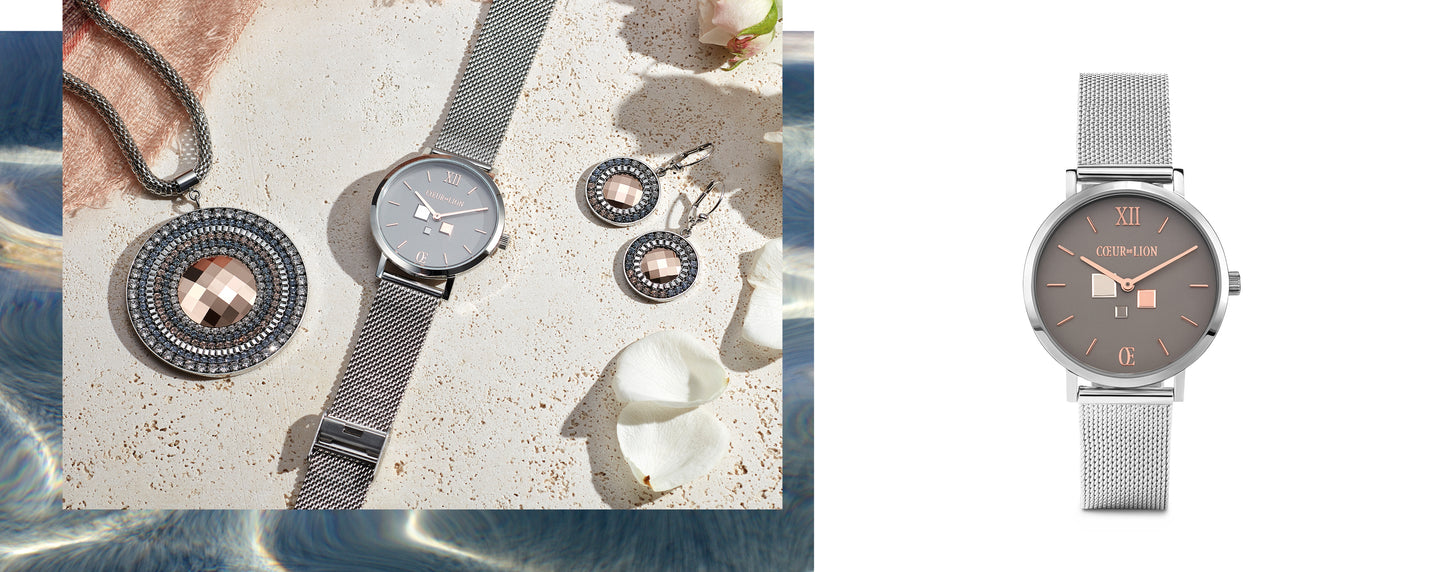 Watch Round Cool Grey Milanese Stainless Steel Combination