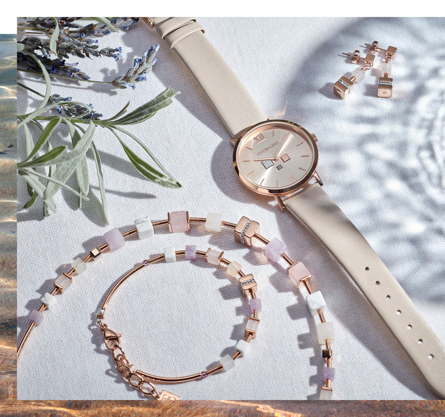 Watch Round Champagne Sunray Bracelet Leather Taupe Combination