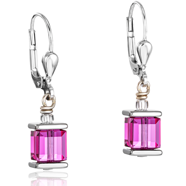 Earrings Swarovski® Crystals GeoCUBE® pink