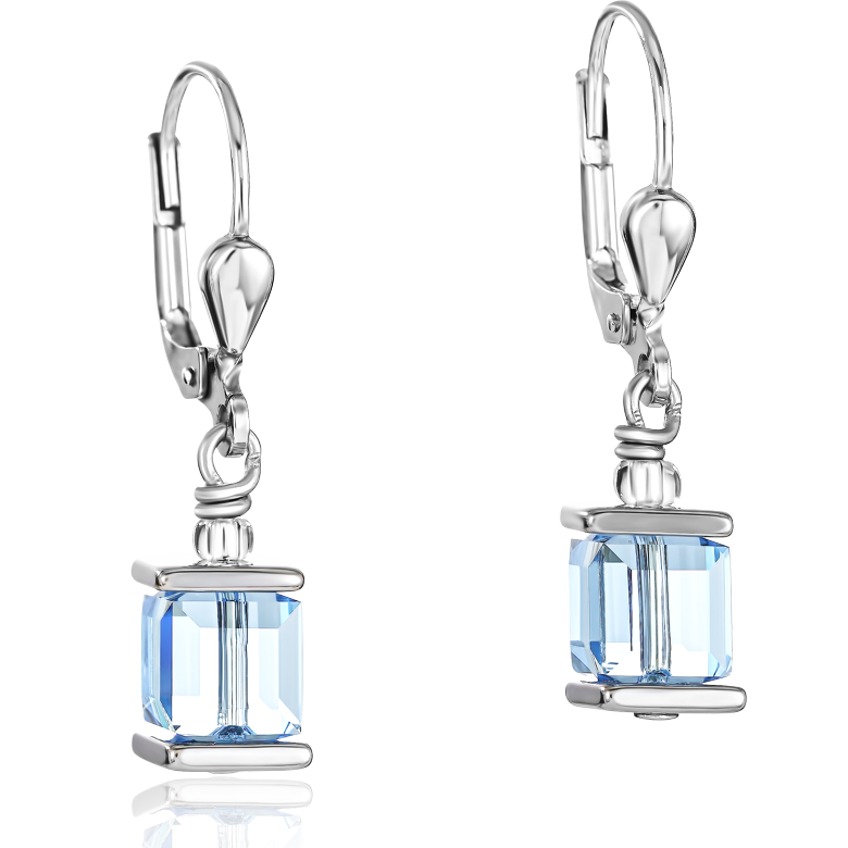 Earrings Swarovski® Crystals GeoCUBE® aqua