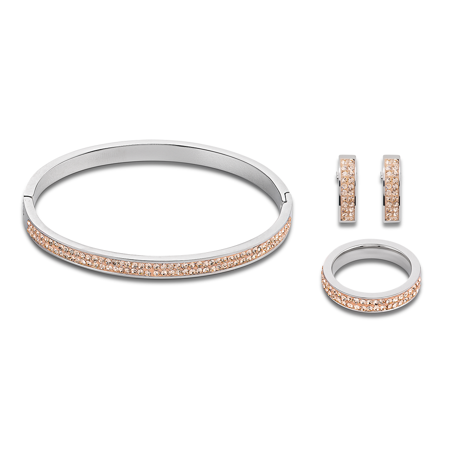 Bangle stainless steel & crystals pavé peach