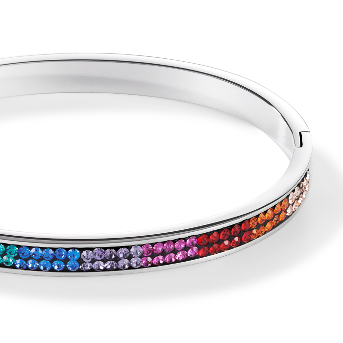 Bangle stainless steel & crystals pavé multicolour