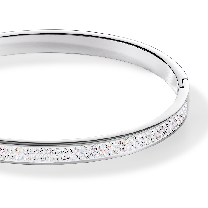 Bangle stainless steel & crystals pavé crystal