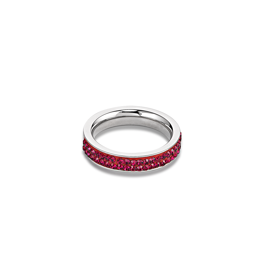 Ring stainless steel & crystals pavé ruby