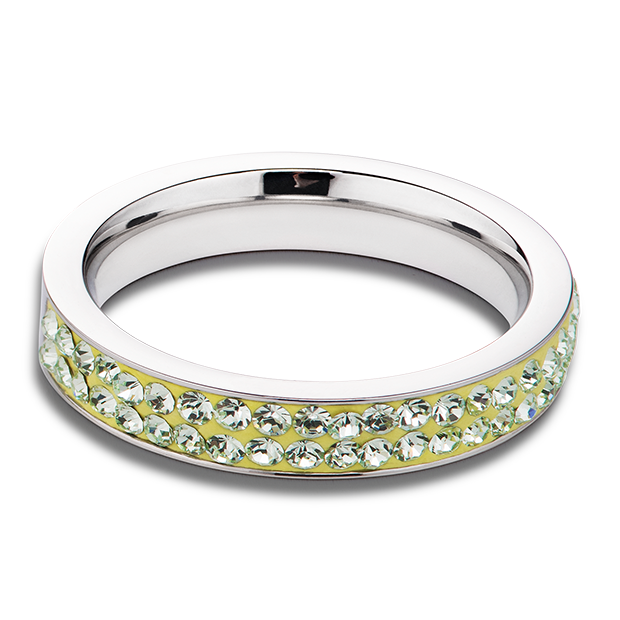 Ring stainless steel & crystals pavé light green