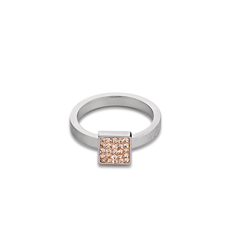 Ring stainless steel & crystals pavé peach