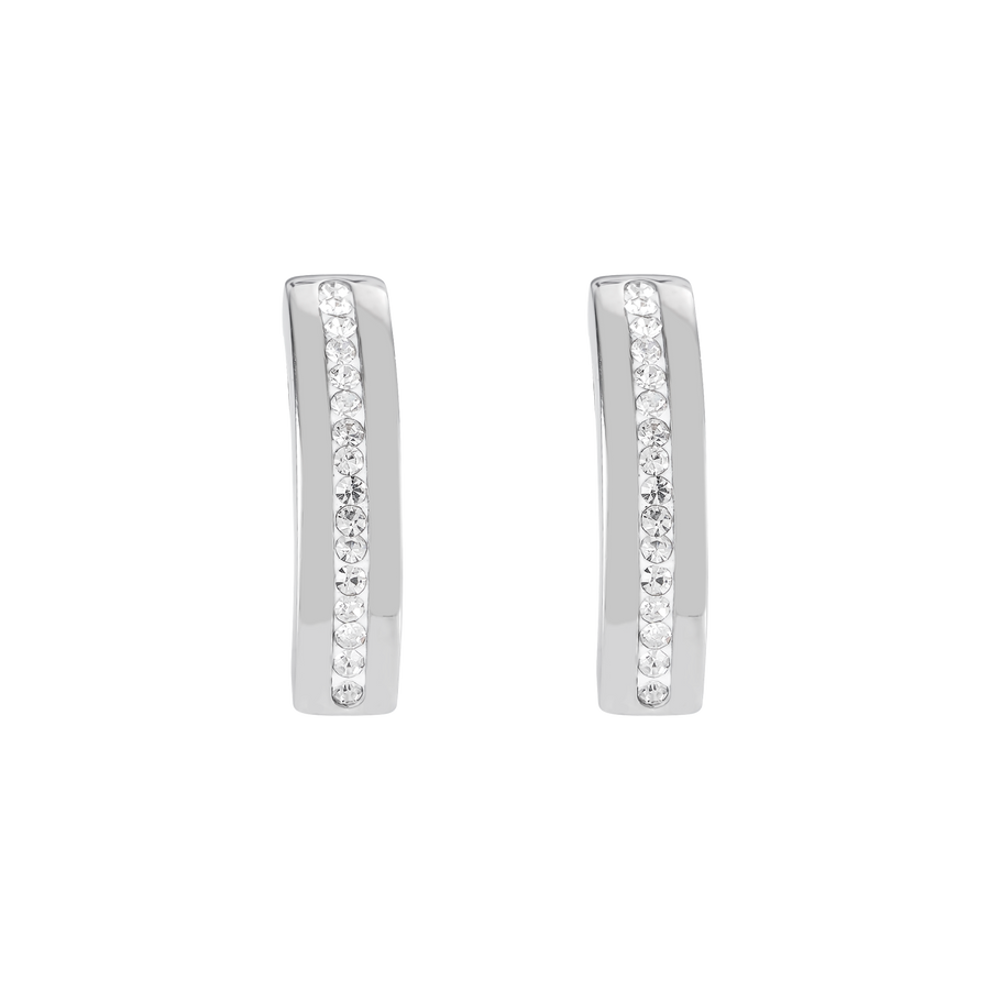 Earrings stainless steel & crystals pavé strip crystal