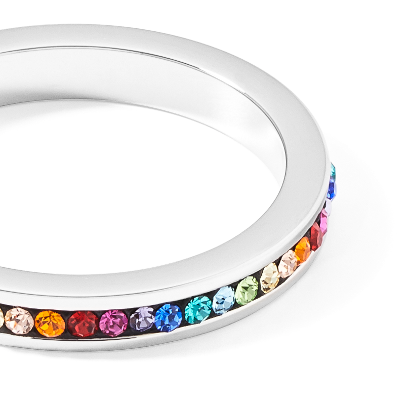 Ring stainless steel silver & crystals pavé multicolour