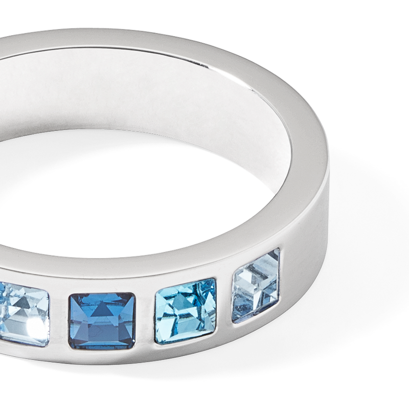 Ring stainless steel silver & square crystals pavé multi-blue