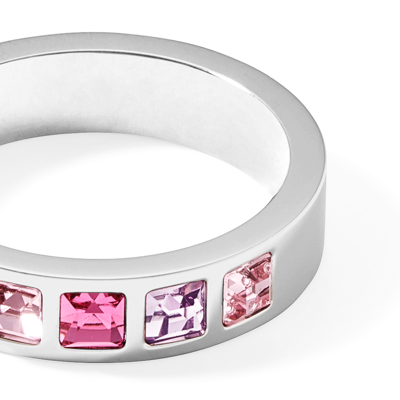 Ring stainless steel silver & square crystals pavé multi-rose