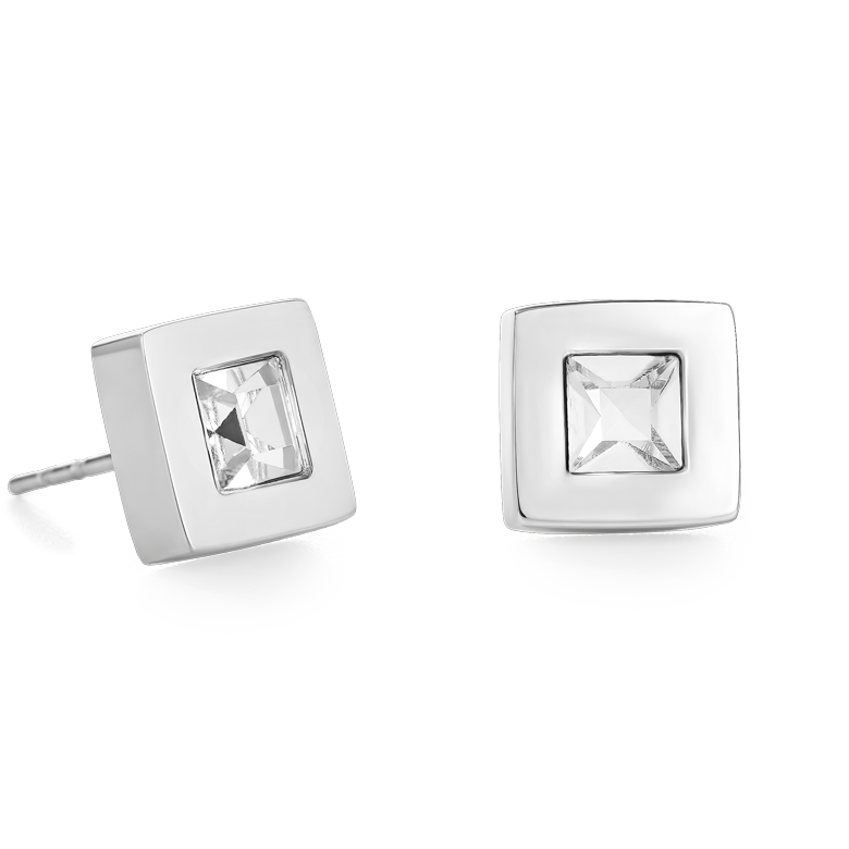 Earrings square stainlees steel silver & crystal