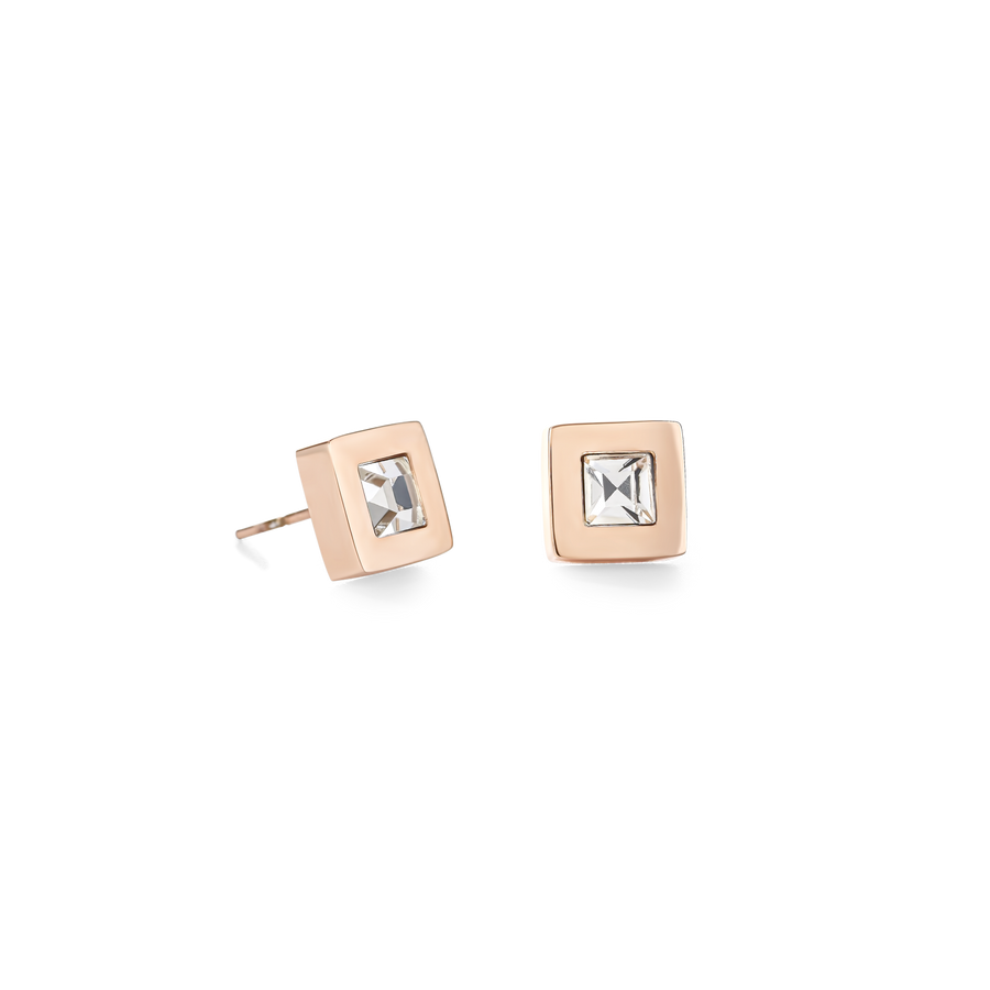 Earrings square stainlees steel rose gold & crystal