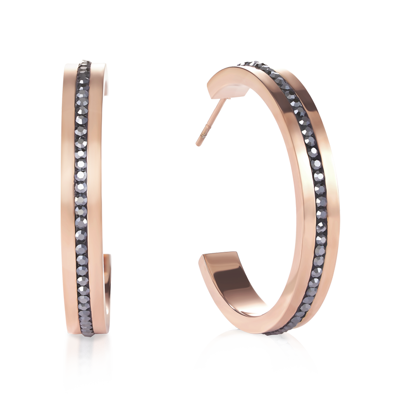 Earrings creole 30 stainless steel rose gold & crystals pavé strip anthracite