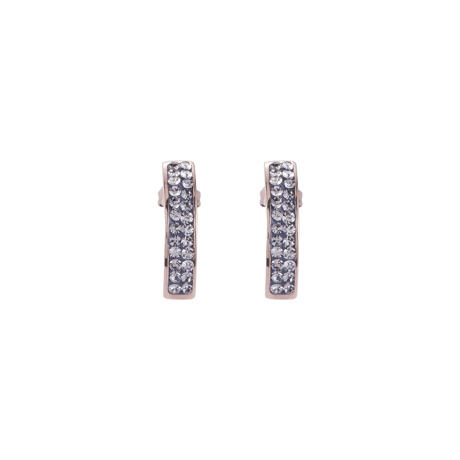 Earrings stainless steel rose gold & crystals pavé grey