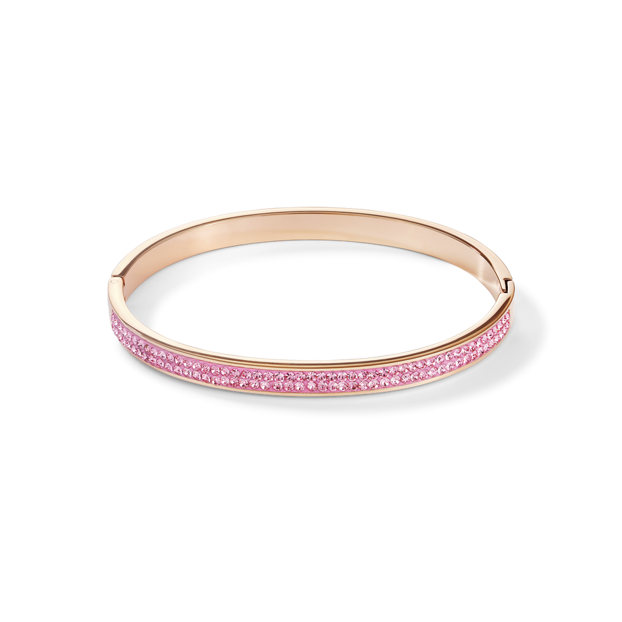 Bangle stainless steel rose gold & crystals pavé light rose