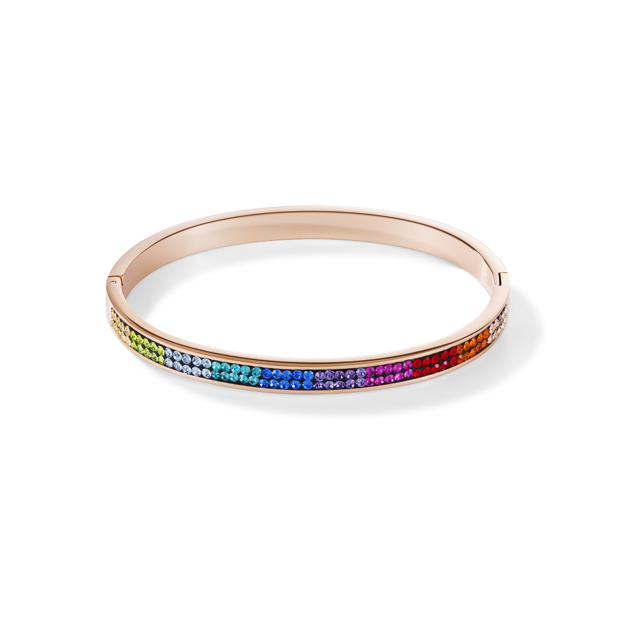 Bangle stainless steel rose gold & crystals pavé multicolour