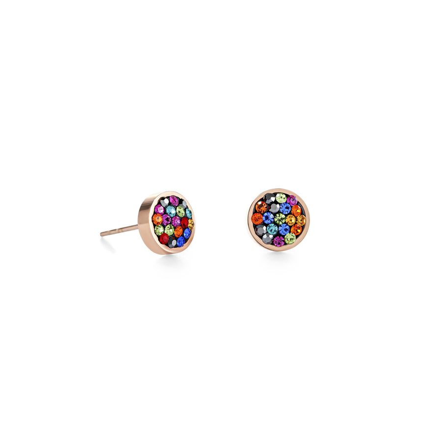 Earrings stainless steel rose gold & crystals pavé multicolour