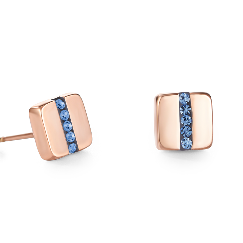 Earrings stainless steel square rose gold & crystals pavé strip light blue