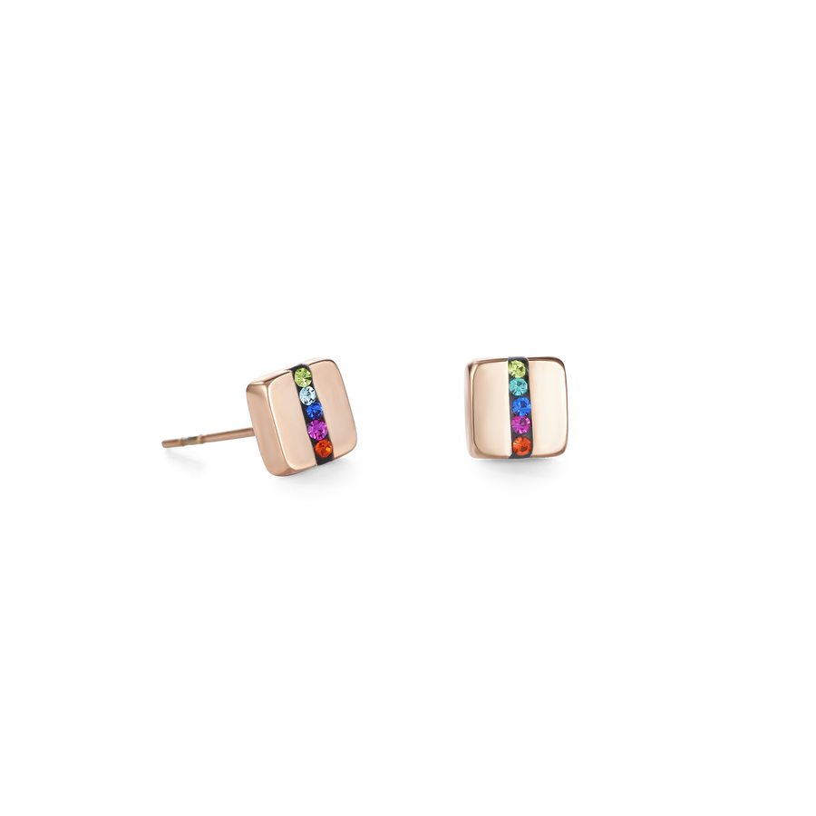 Earrings stainless steel square rose gold & crystals pavé strip multicolour