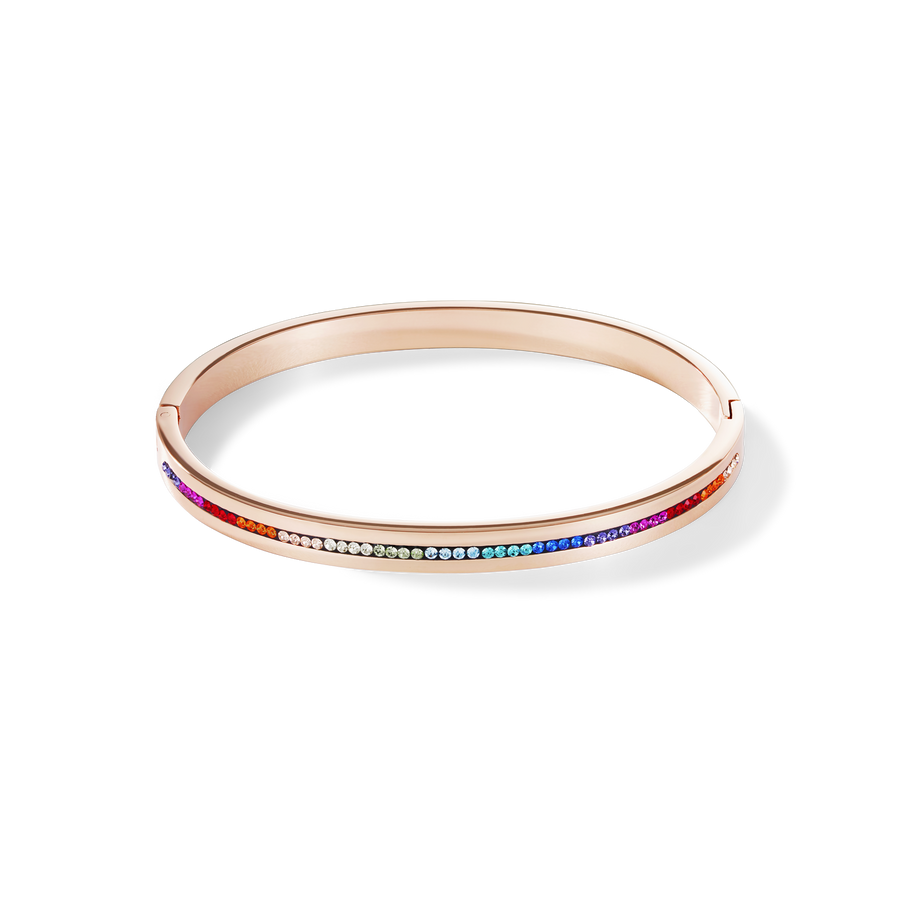 Bangle stainless steel rose gold & crystals pavé strip multicolour