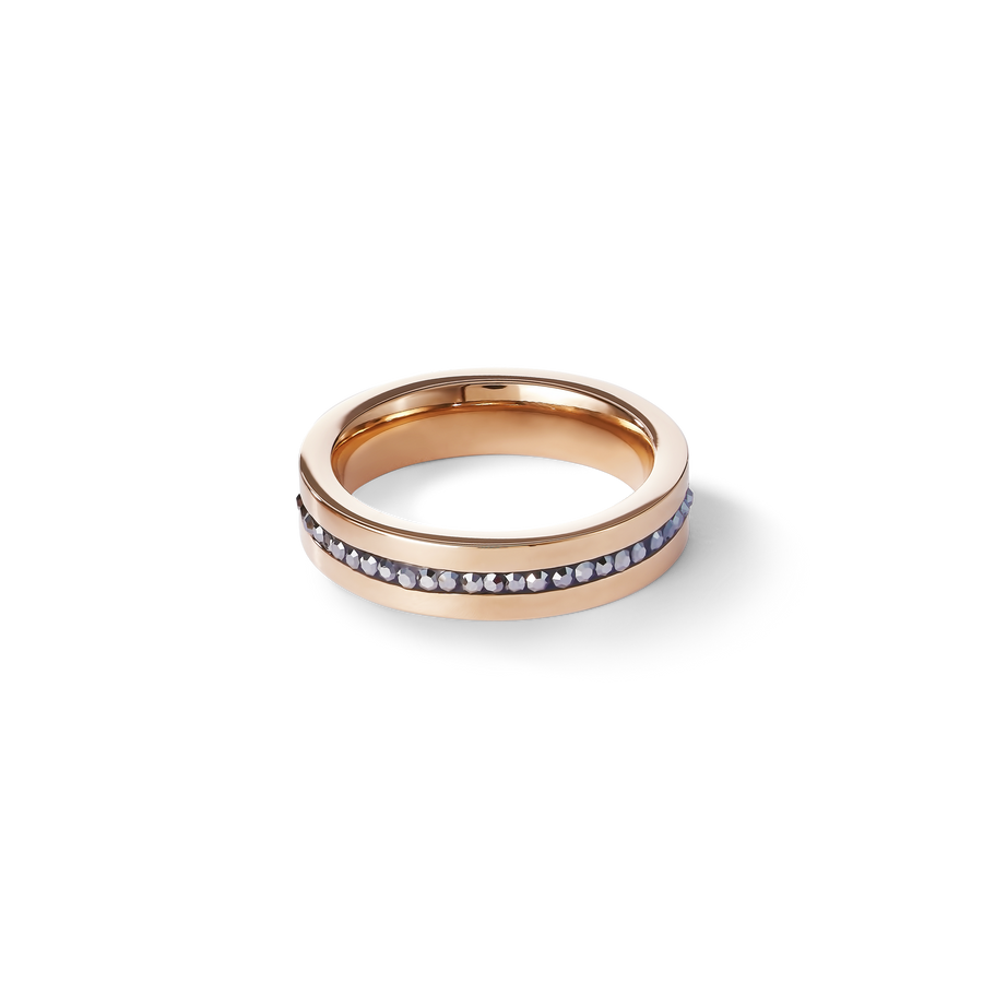 Ring stainless steel rose gold & crystals pavé strip anthracite