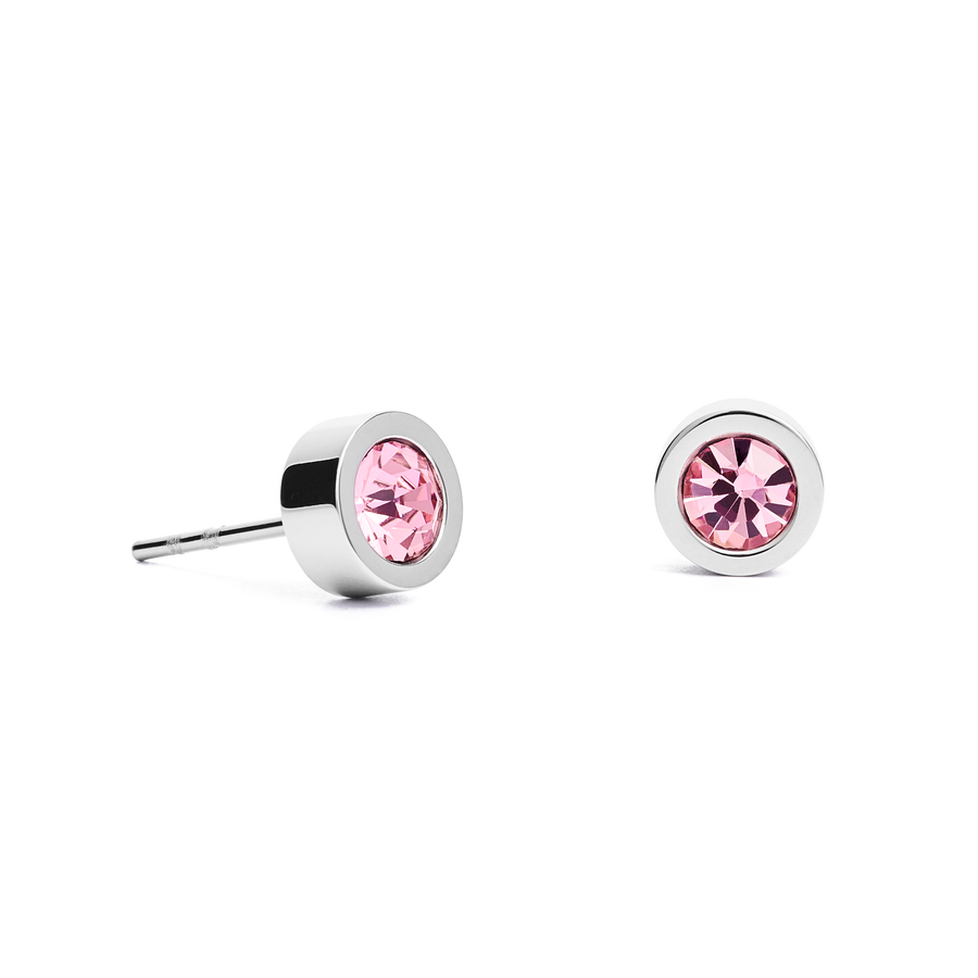 Earrings Crystal & stainless steel silver rose