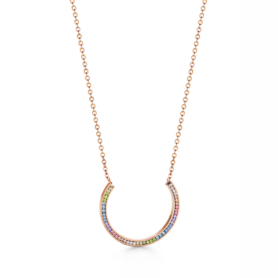 Necklace stainless steel rose gold with crystals pavé multicolour pastel