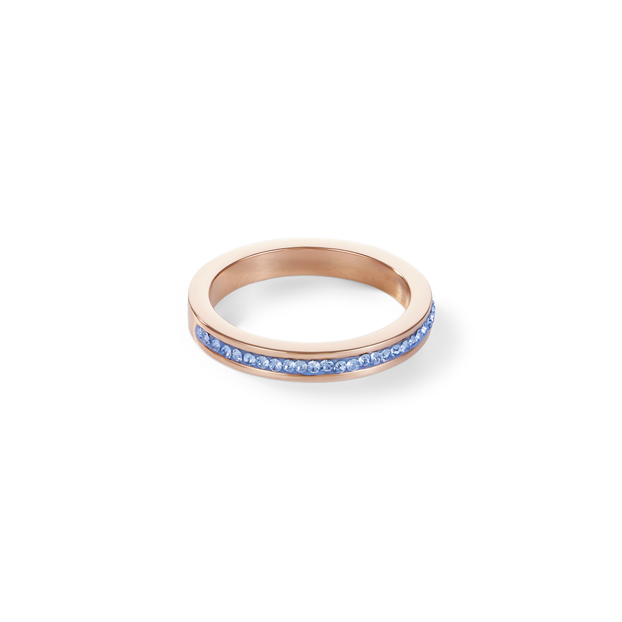 Ring slim stainless steel rose gold & crystals pavé light blue