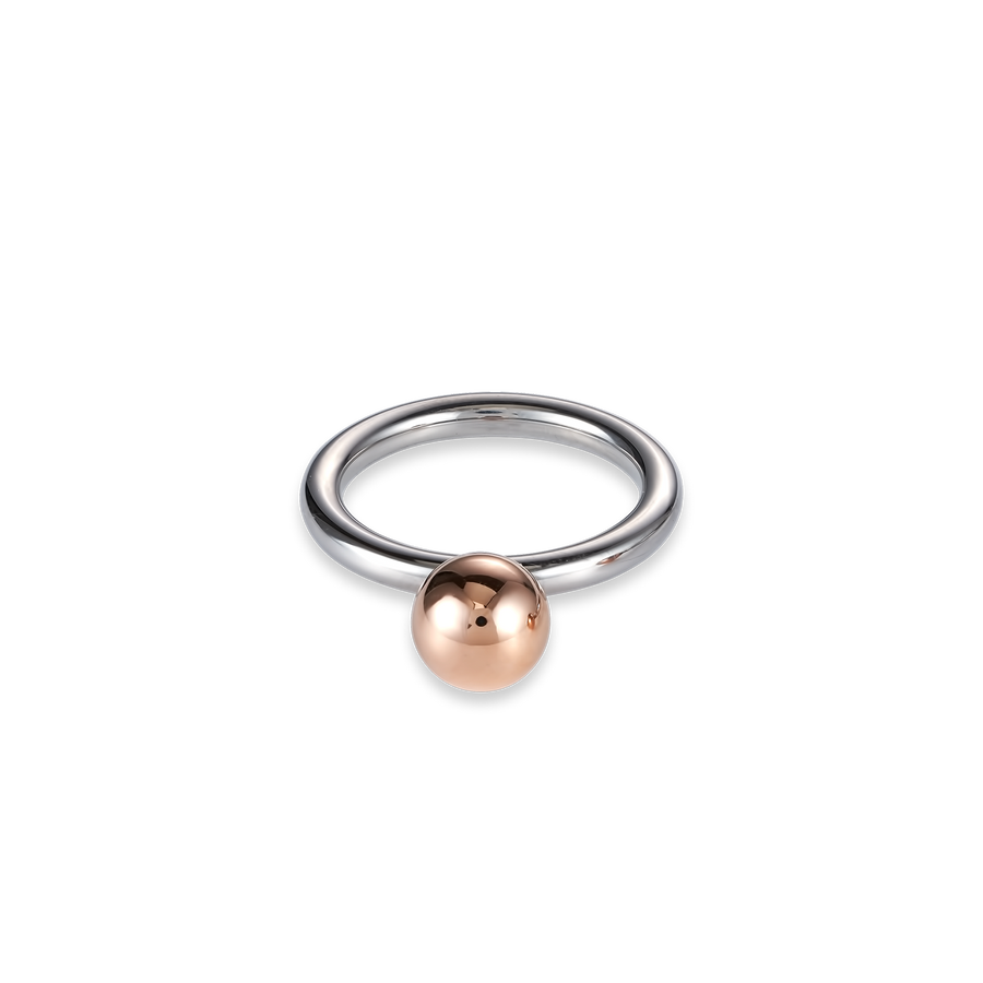 Ring stainless steel ball small rose gold
