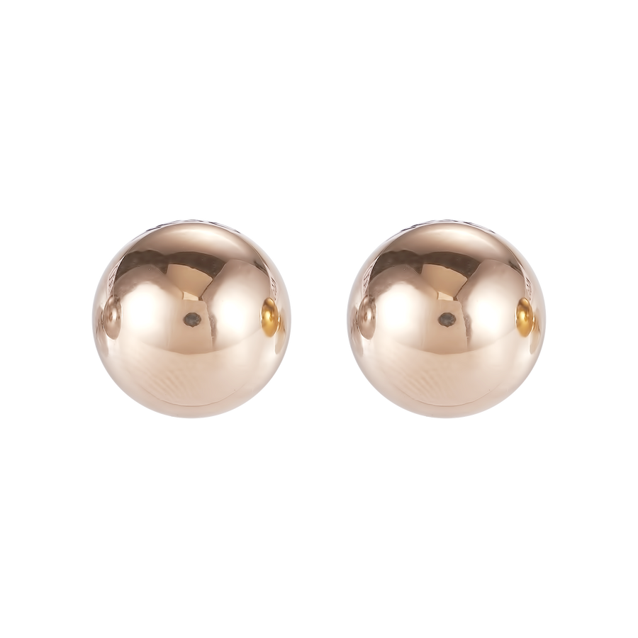 Earrings stainless steel ball large rose gold