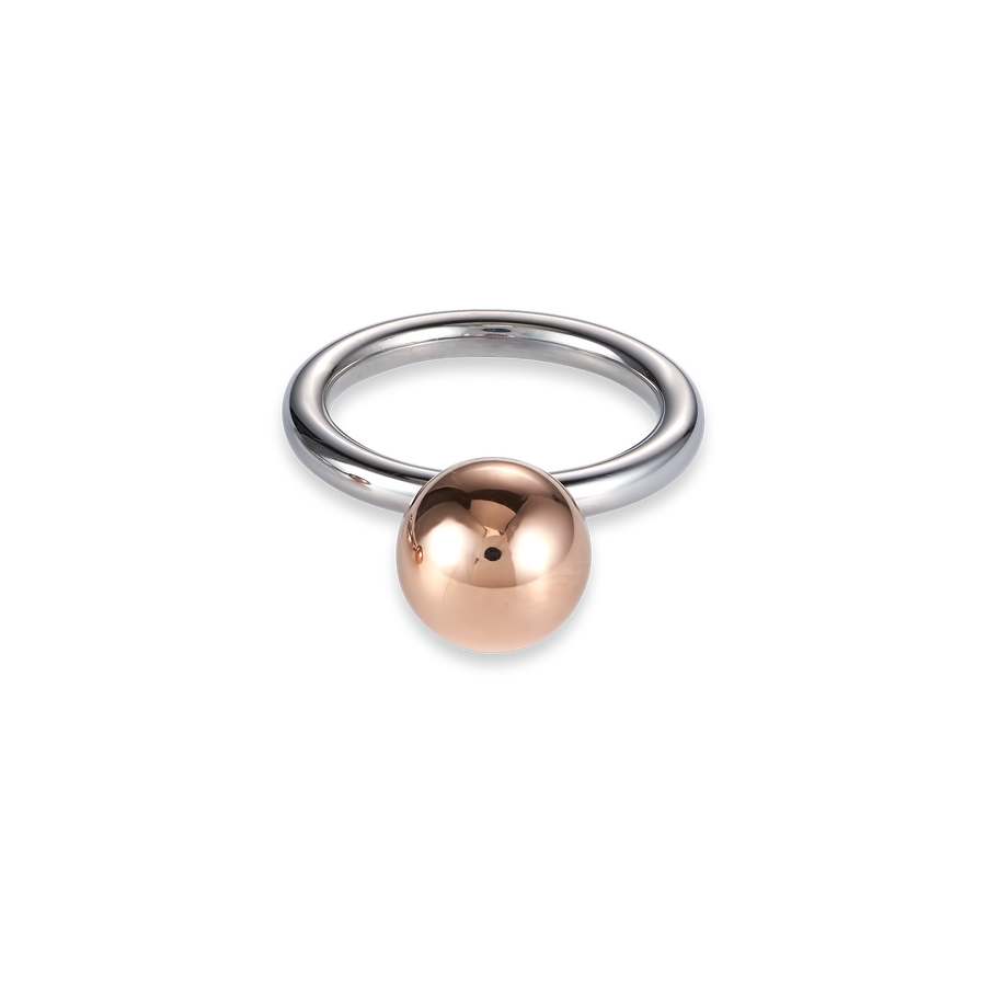 Ring stainless steel ball large rose gold
