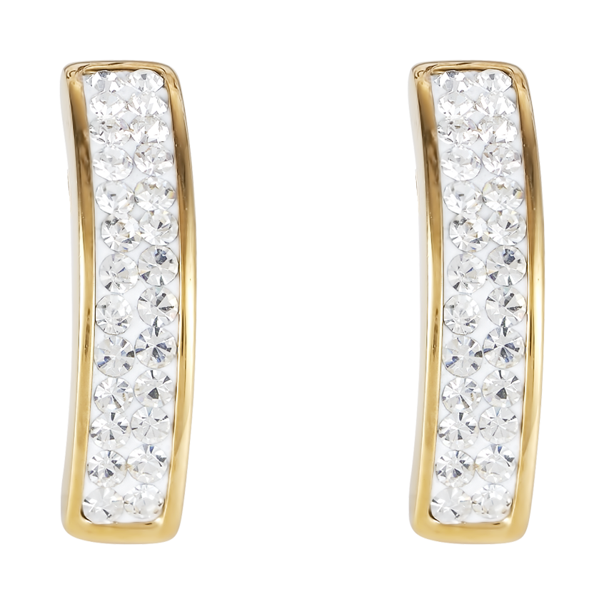 Earrings stainless steel gold & crystals pavé crystal