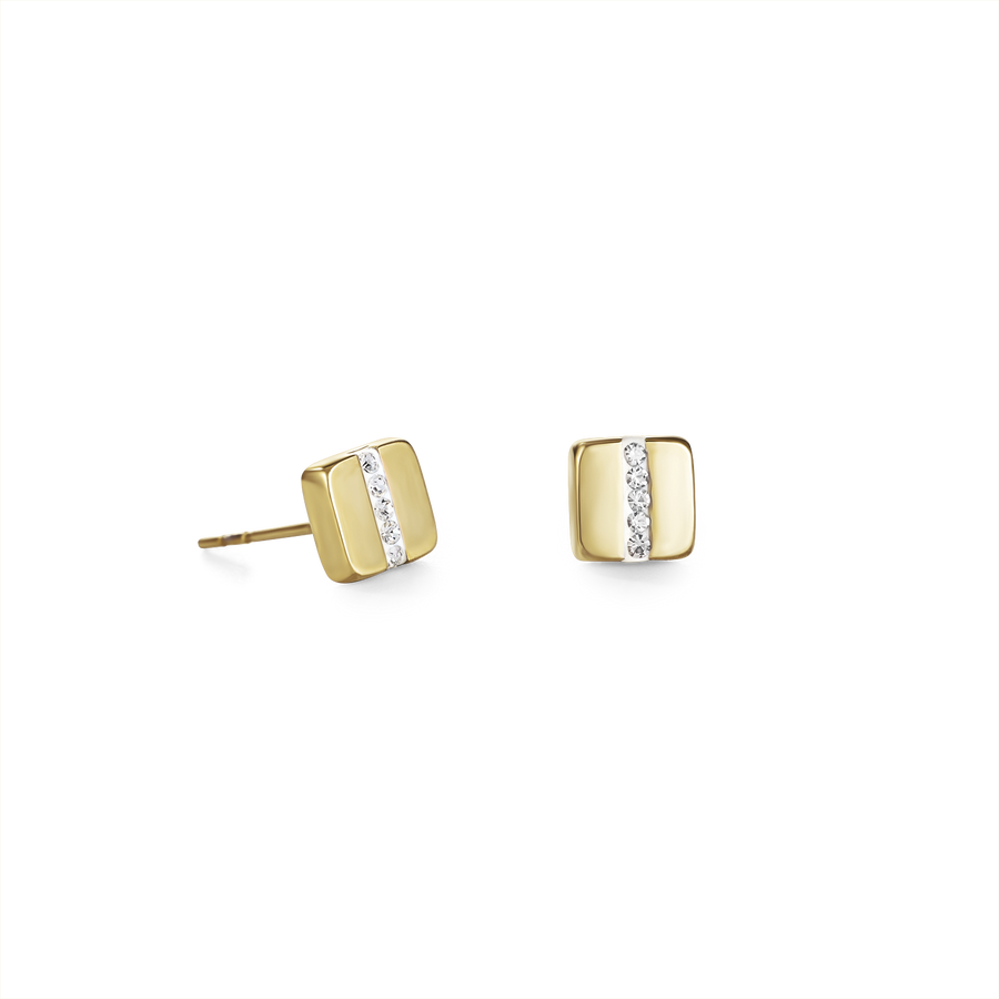 Earrings stainless steel square gold & crystals pavé strip crystal