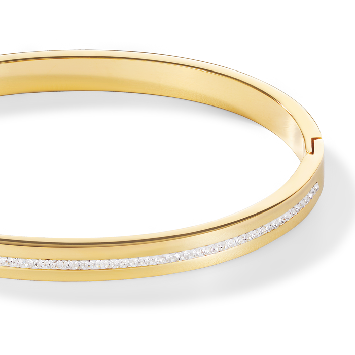 Bangle stainless steel gold & crystals pavé strip crystal