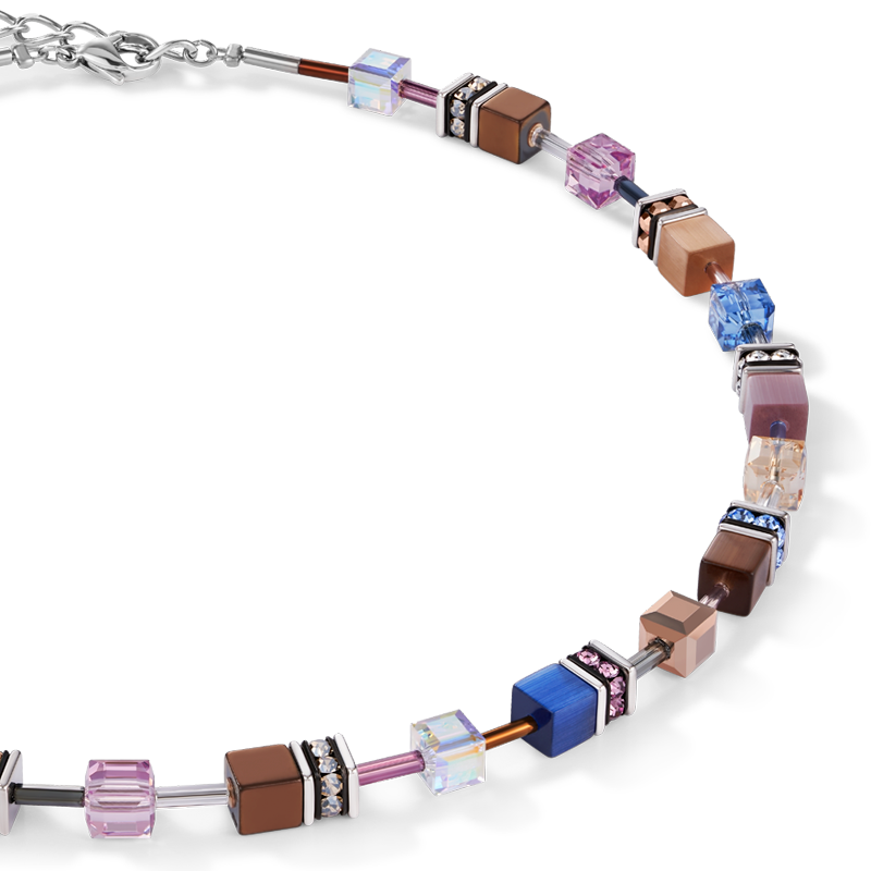 GeoCUBE® Necklace blue-brown-lilac