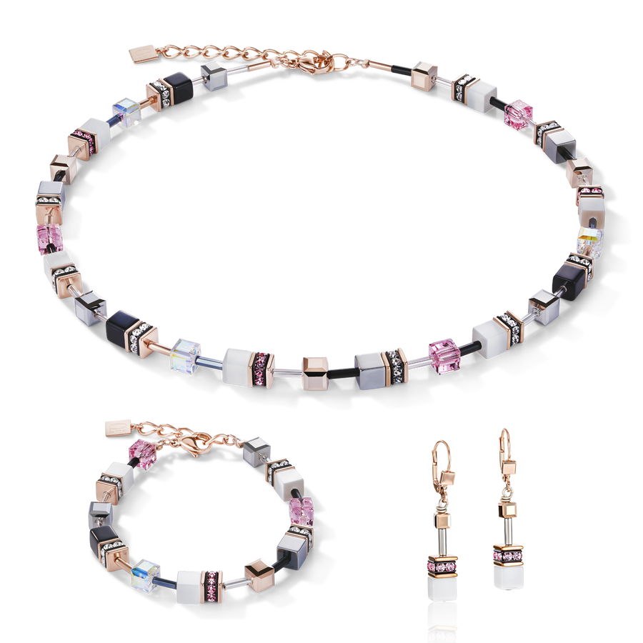 GeoCUBE® Necklace rose gold, white & light rose