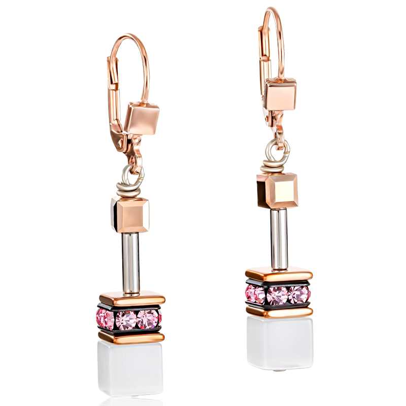 GeoCUBE® Earrings rose gold, white & light rose