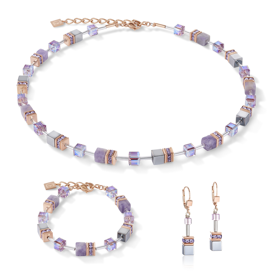 GeoCUBE® Necklace light amethyst & haematite lilac