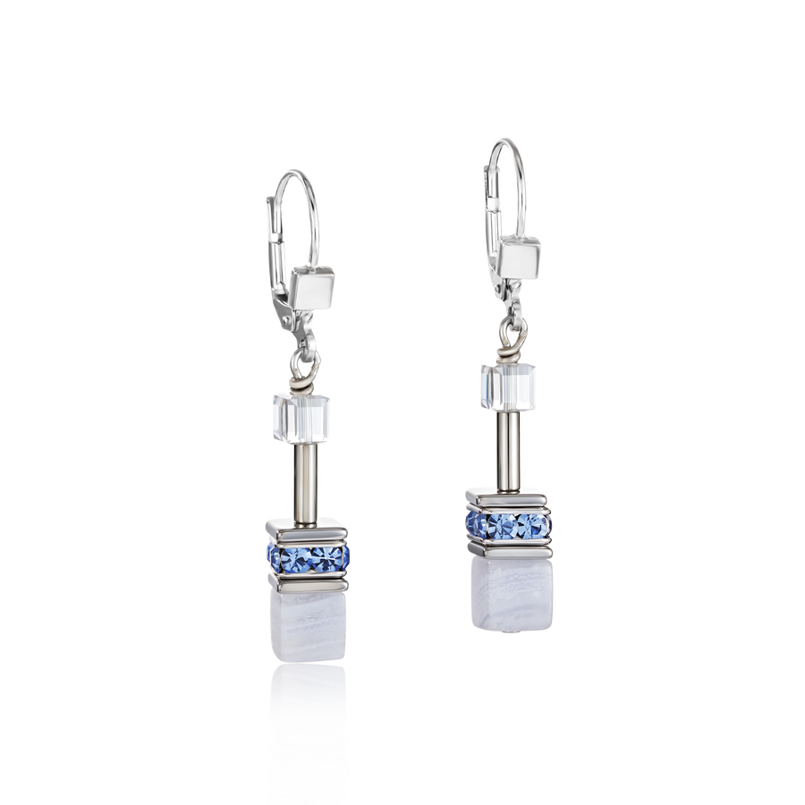 GeoCUBE® Earrings chalcedony & haematite light blue