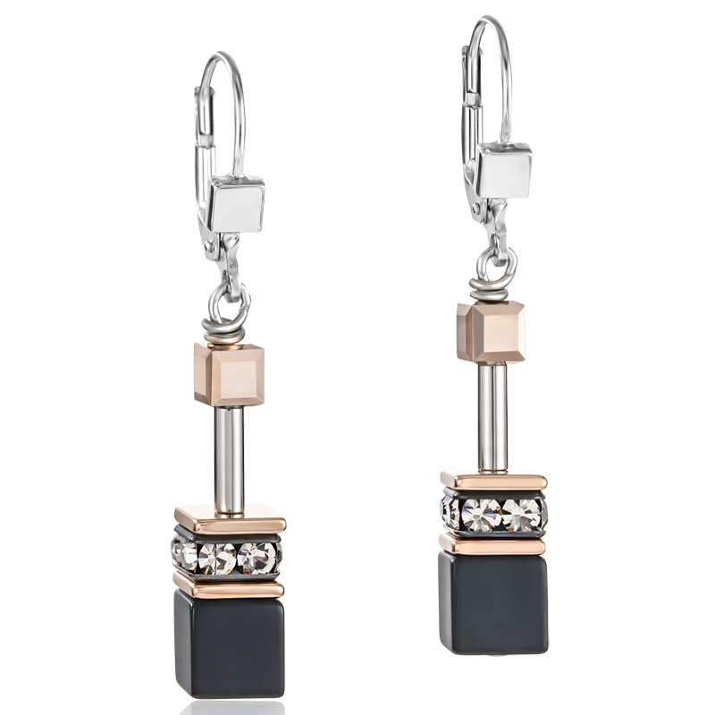 GeoCUBE® Earrings onyx black-rose gold
