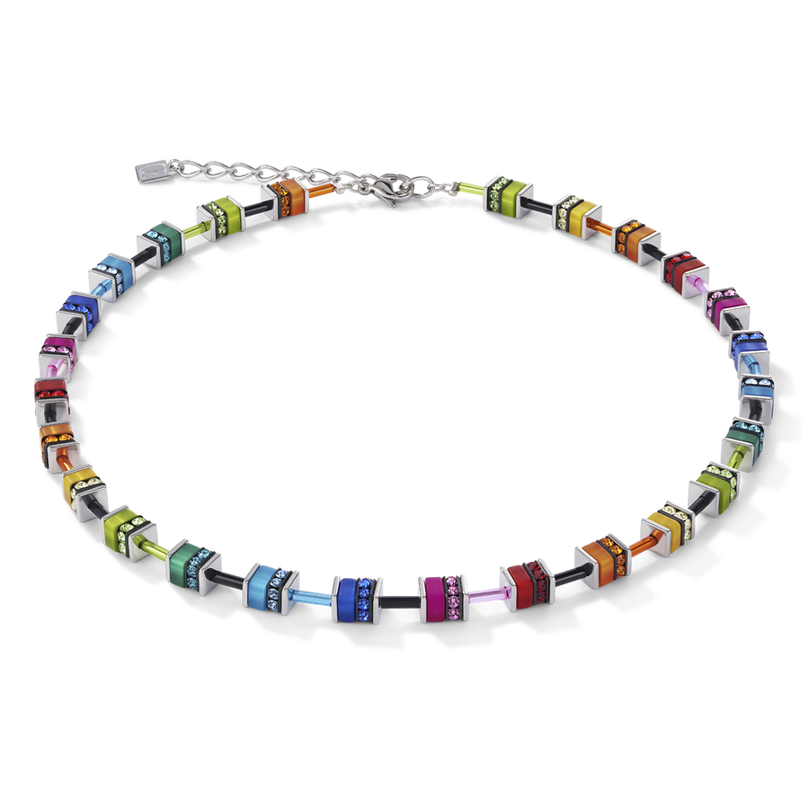 GeoCUBE® Necklace classic polaris & rhinestone multicolour
