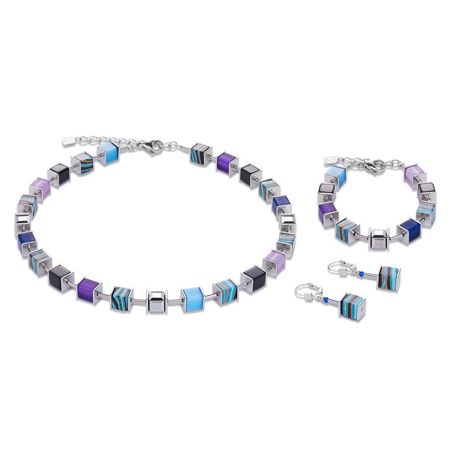 GeoCUBE® Necklace Swarovski® Crystals malachite blue-purple
