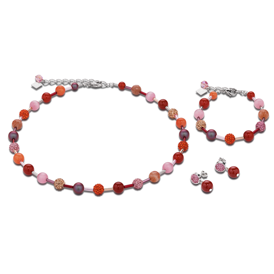 Necklace Crystals Pavé & agate & onyx orange-rose
